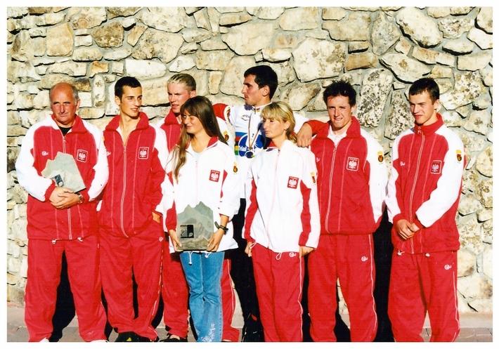 Najlepsza kolarska Drużyna Świata USA 2001r. - w środku Rafał Kumorowski w tęczowej koszulce Mistrza Świata
